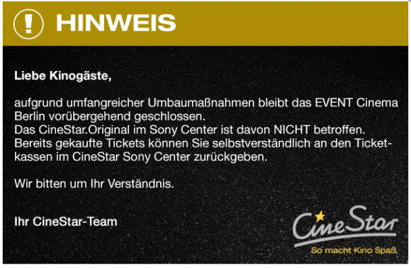 Hinweis Event Cinema