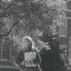 Wake Forest student walking past Z. Smith Reynolds Library