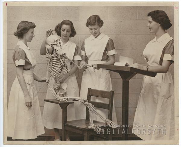 Student Nurses with Skeleton