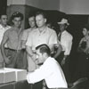 Draft registration inside the Forsyth County Courthouse, 1948.