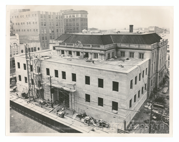 Constructing additions to the Forsyth County Courthouse, 1959.