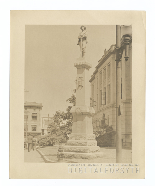Confederate monument on the lawn of the Forsyth County Courthouse.
