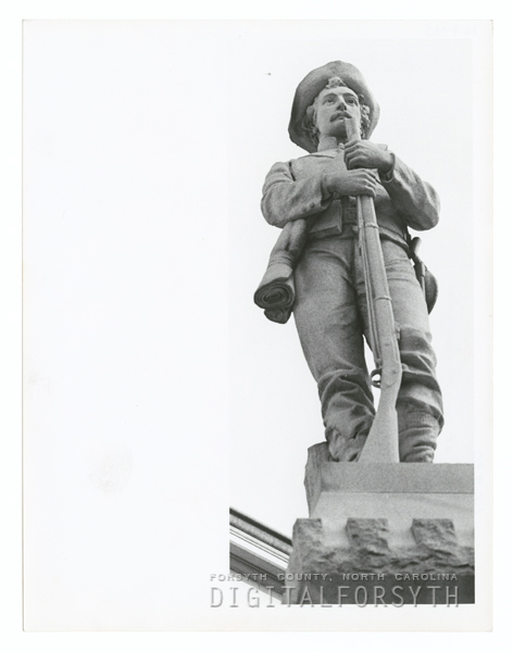 Confederate monument on the lawn of the Forsyth County Courthouse, 1973.