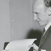 Richard S. Boutelle and Thomas Davis at signing of contract for airplane order, 1956.