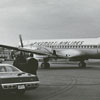 Piedmont Airlines airplane near the hangar at Z. Smith Reynolds Airport..