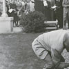 J. O. Pritchard inserts the cornerstone for the United Fund office at the James G. Hanes Community Center, 1958.