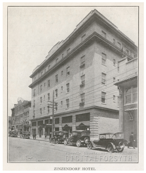Zinzendorf Hotel on North Main Street, 1918.