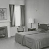 The bedroom in the Tanglewood Lodge at Tanglewood Park, 1961.