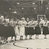 Mount Airy High School and Mineral Springs High School cheerleaders, 1956.