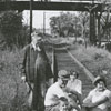 Hobo party on the Winston-Salem Southbound Railroad tracks, 1956.