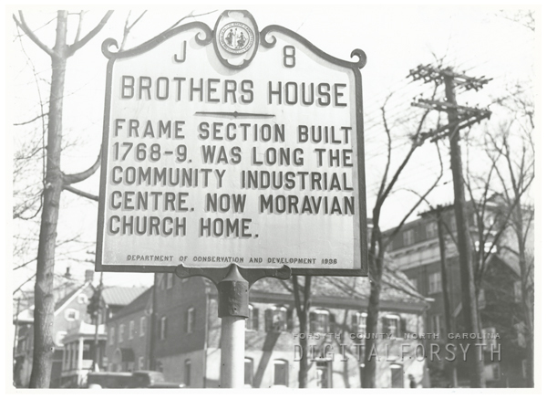 Highway marker for the Brothers House in Salem, 1939.