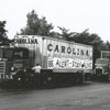 A truck rodeo featuring a variety of types of trucks, 1955.
