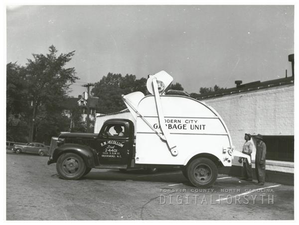 New garbage truck, 1948.