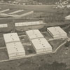 Aerial showing tobacco warehouses, 1938.