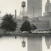 Mirror image downtown skyline view looking west, 1973.