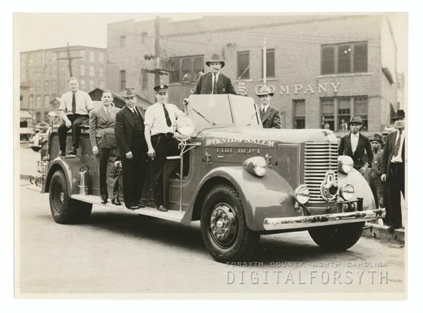 Firemen and Fire Truck, 1940.