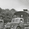 Southern train locomotive being moved to Tanglewood Park in Clemmons, 1954.