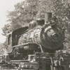 Southern train locomotive being moved into Tanglewood Park in Clemmons, 1954.