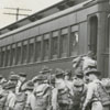 Men of Company G, 120th Infantry, leaving Winston-Salem for three weeks of war games at Camp Shelby at Hattiesburg, Mississippi and Alexandria, Louisiana, 1940.