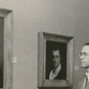 Ed Shewmake at art exhibit at Forsyth County Public Library, 1955.