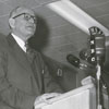 Forsyth County Public Library Dedication, 1953. Roy C. Haberkern at the podium.