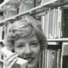 Librarian Joy White with mobile telephone.