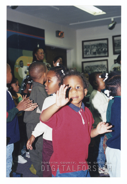 Children at a library program at East Winston Branch Library.