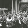 Moravian band participating at the dedication of the Salem Tavern after renovation work, 1941.