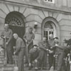 American Legion initiation of members on the steps of the Forsyth County Courthouse, 1950.