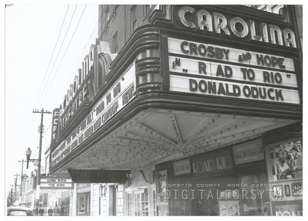 The Carolina Theatre marquee.