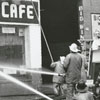 Fire at the Liberty Warehouse and Liberty Café on N. Liberty Street, 1970.