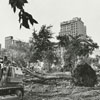 Clearing of the lot on the corner of Holly and Poplar Streets, 1971.