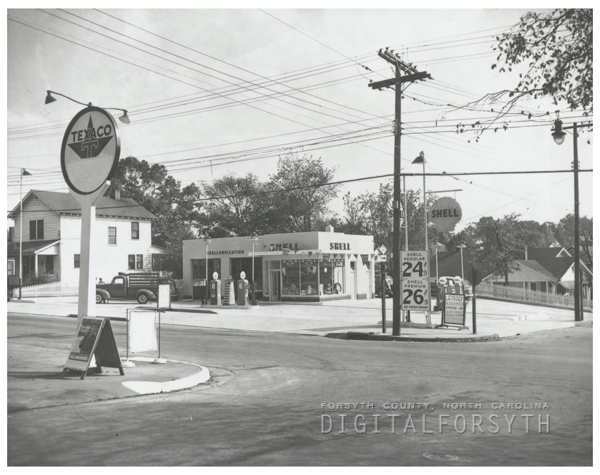 Quality Oil Company. Shell Service Station at Acadia and Broad Streets, 1951.