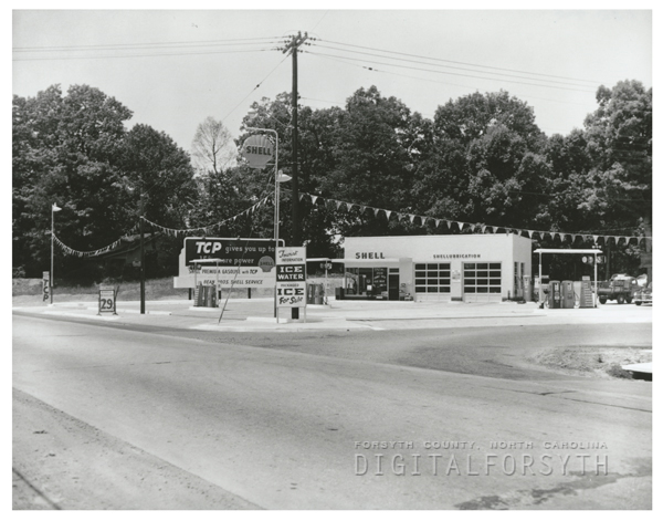 Quality Oil Company. Shell Service Station at 600 S. Stratford Road at Westview Drive.