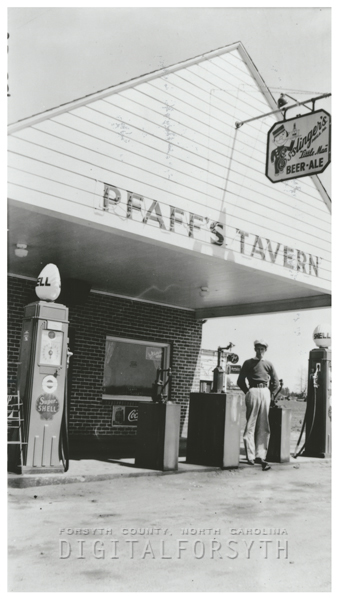 Pfaff's Tavern and Shell Service Station.