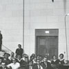 Speaker (right) at Wake Forest, George Lincoln Rockwell, head of the American Nazi Party, 1967.