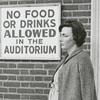Woman standing outside of Reynolds Auditorium, 1967.