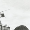 Adding letters to the top of the new Wachovia Building by helicopter, 1965.