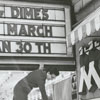 Marquee at the Carolina Theatre advertising the Mother's March for the March of Dimes, 1964.