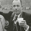 Photographer Frank Jones (right) and unidentified person at the Tanglewood Steeplechase, 1964.