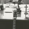 Reverend Parks Todd, minister at Brookstown Methodist Church, with a guitar, 1964.