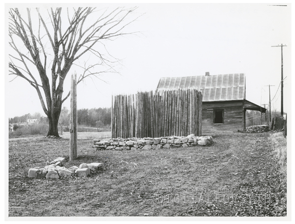 Photo showing the replacement of the stockade at Bethabara, 1964.