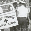 Motorcycle race in Davie County, 1963.  Davie County Rescue Squad came to help the injured rider.