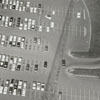Aerial view of the parking lot at the Thruway Shopping Center, 1962.