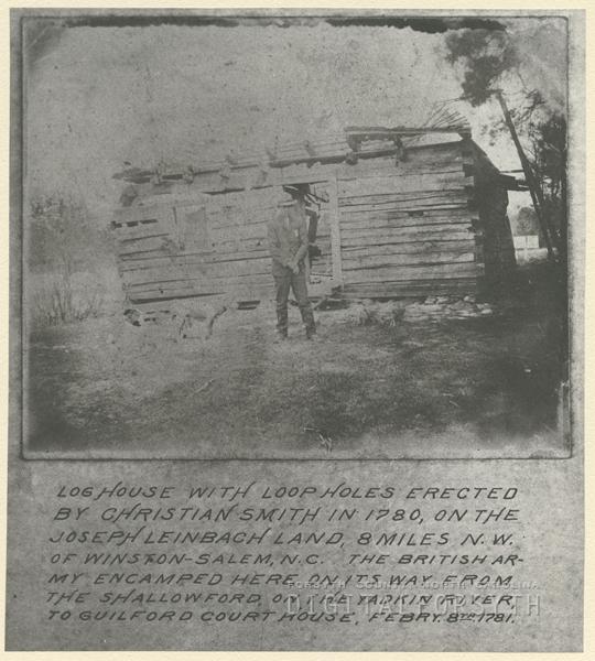 Log house built by Christian Smith in 1780, on the Joseph Leinbach land.