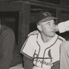 Lee Peterson and J. A. Brewer at a baseball game at Southside Ballpark, 1950.