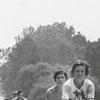 Riding bicycles on the bridge across the Yadkin River, 1973.