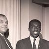 Coach Clarence Gaines and Earl Monroe