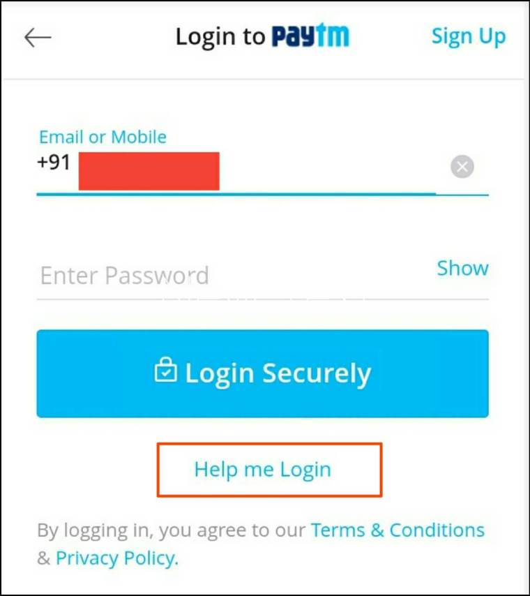Click Help Me Login Option