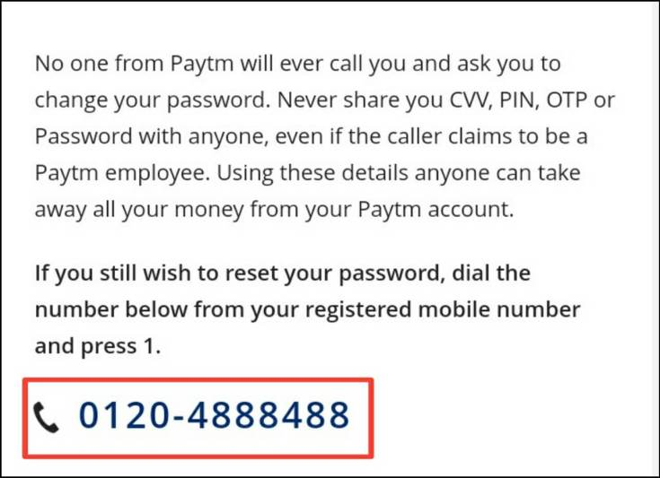 calling paytm this number